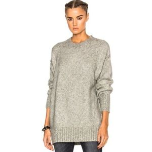 Aerie Grey Boho Oversized Knit Crew Neck Sweater